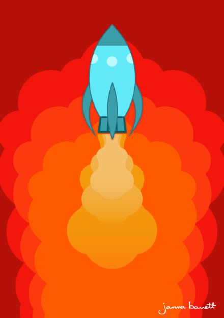 Rocket ship poster design by Janna Barrett