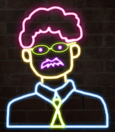 Image of Leon Trotsky made to look like a neon sign