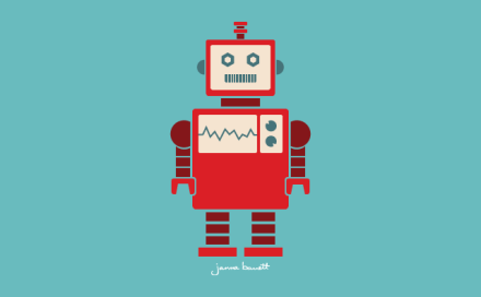 Red robot graphic on blue background, designed by Janna Barrett
