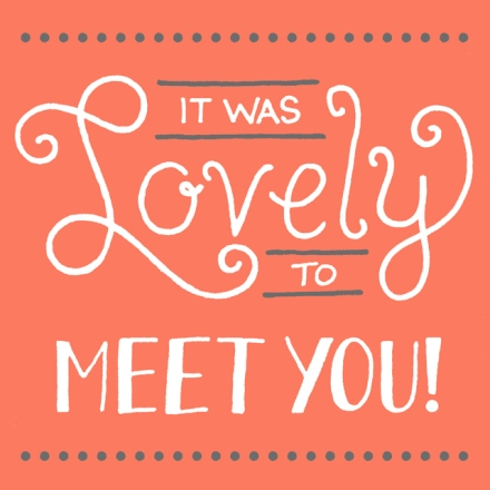 """Lovely to meet you 2"" lettering for Janna Barrett's personal business cards"