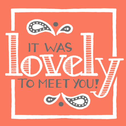"""Lovely to meet you 3"" lettering for Janna Barrett's personal business cards"