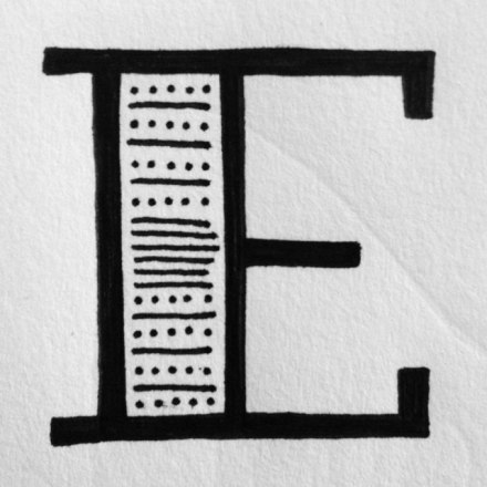 """E"" drop cap for reddit lettering challenge"