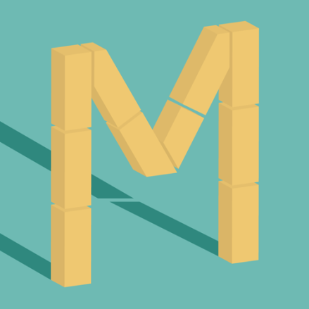 """M"" drop cap by Janna Barrett, for 36 Days of Type"