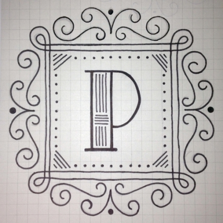 """P"" drop cap by Janna Barrett, for 36 Days of Type"