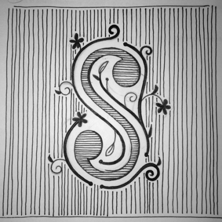 """S"" drop cap by Janna Barrett, for 36 Days of Type"